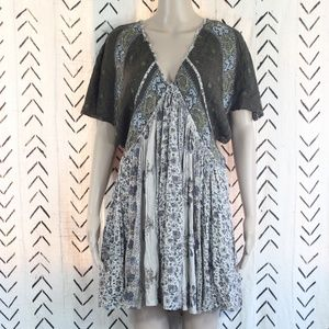 Free People Green Beige Floral Batwing Dress Small